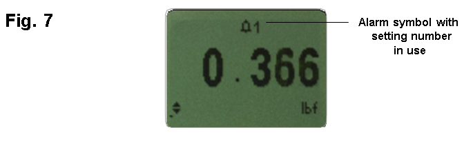 AFG alarm symbol with setting number