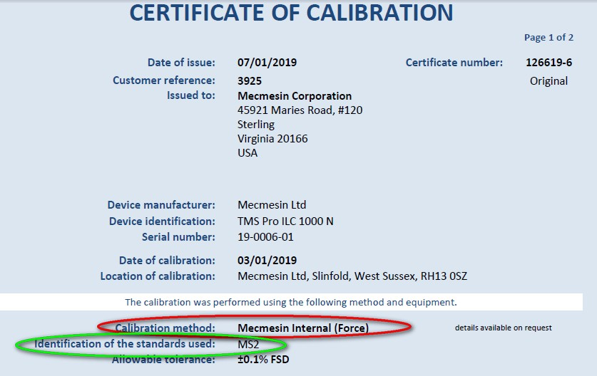 Example certificate of calibration - identify traceability certificate ID