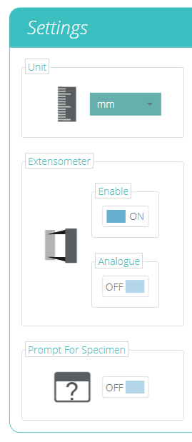 Extensometer Settings Menu