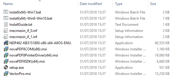List of Install Files