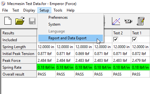 Report and Data Export Selection