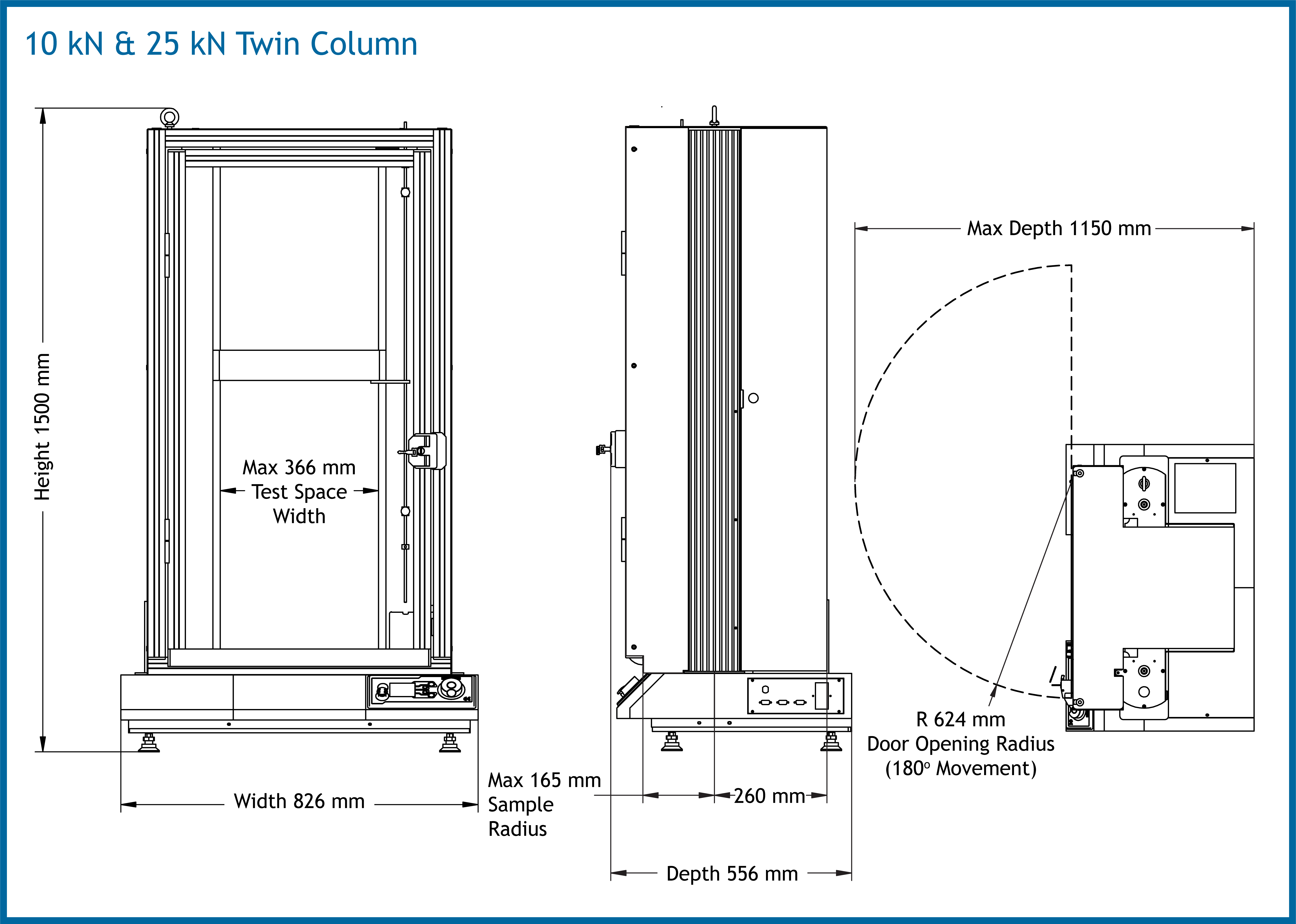 Twin Column 10-25 Dimensions