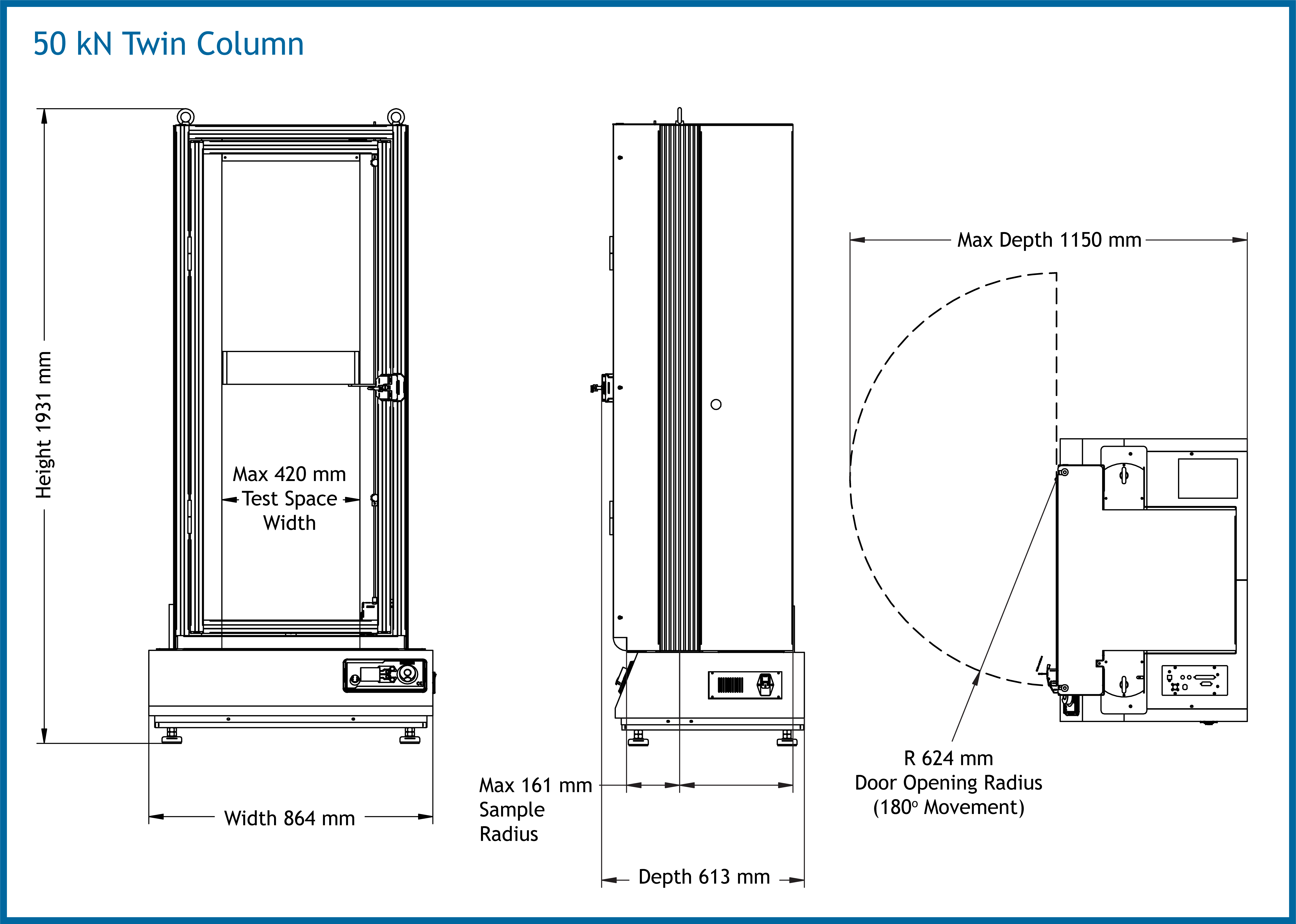 Twin Column 50 Dimensions