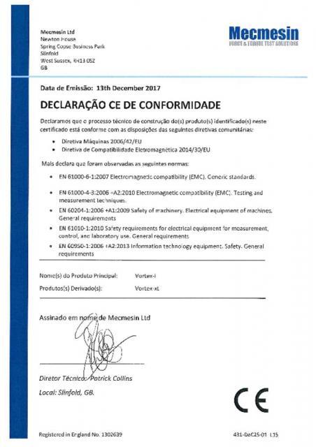 DECLARAÇÃO CE DE CONFORMIDADE, Vortex-i e Vortex-xt