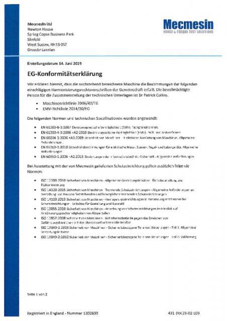 EG-Konformitatserklarung, MultiTest 10-i; 25-i; 50-i; MultiTest 10-xt; 25-xt; 50-xt und Standardschutzeinrichtung