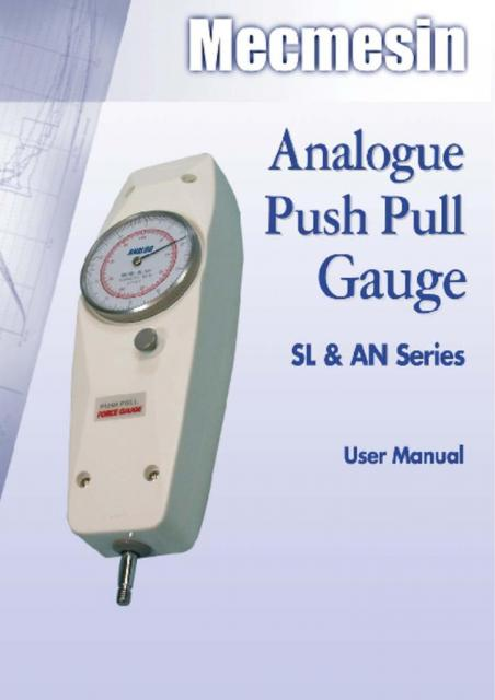 Analogue Push-Pull Gauge, SL and AN Series User Manual