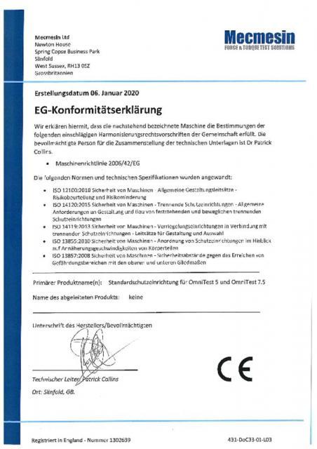 EG-Konformitatserklarung,, OmniTest 5 and OmniTest 7.5 Standardschutzeinrichtung