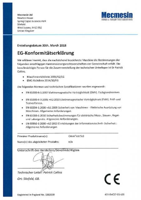 EG-Konformitatserklarung, OmniTest 5.0