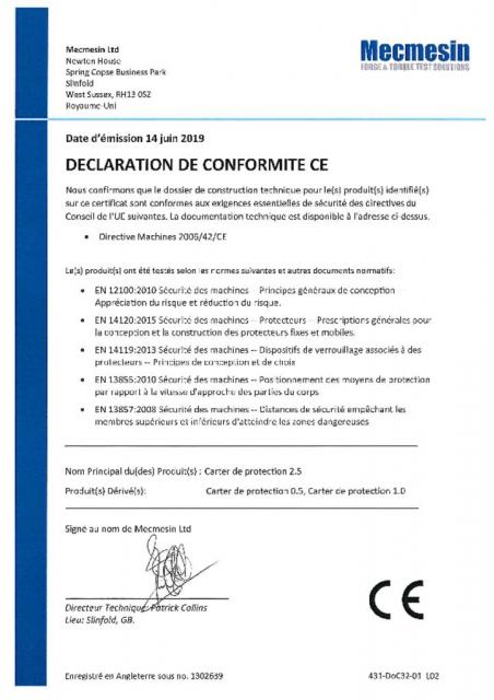 Declaration de Conformite CE, Carter de protection 2.5, Carter de protection 0.5 et Carter de protection 1.0