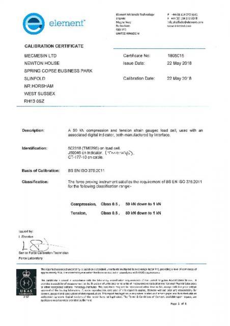 TM0295 50kN Transfer Standard & TM0296 Indicator