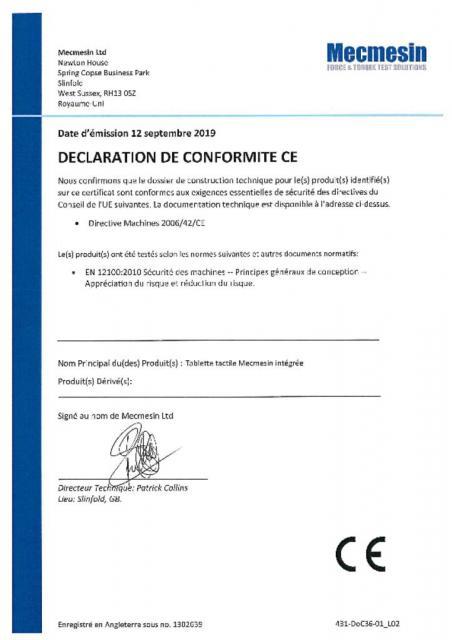 Declaration de Conformite CE, Tablet tactile Mecmesin intégrée