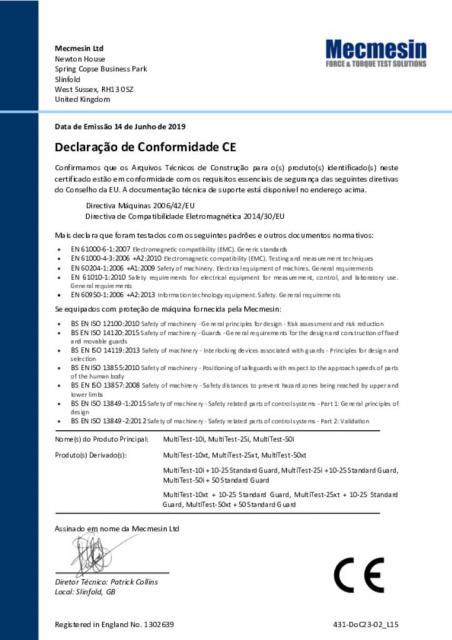 Declaração de Conformidade CE, MultiTest 10-i; 25-i; 50-i; MultiTest 10-xt; 25-xt; 50-xt e invólucro de proteção