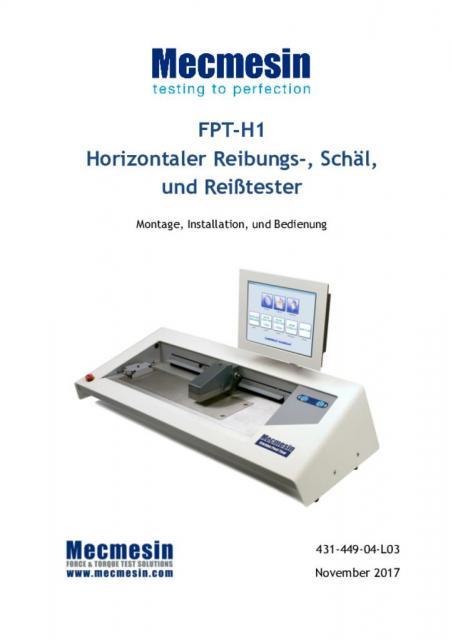 FPT-H1 Horizontaler Reibungs-, Schäl, und Reißtester Montage, Installation, und Bedienung