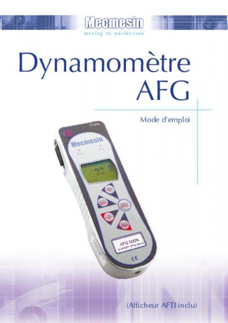 Dynamomètre AFG Mode d'emploi