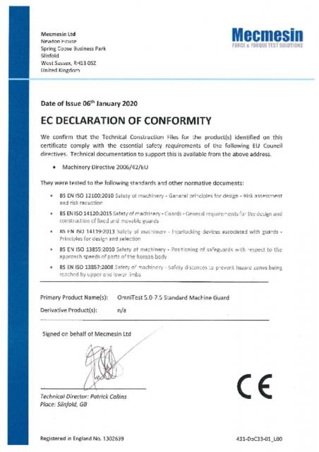 EC Declaration of Conformity, OmniTest 5 and OmniTest 7.5 Standard Machine Guards