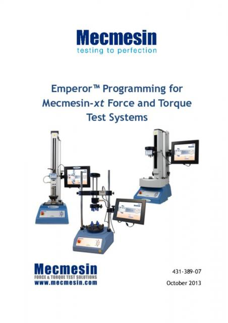 431-389-07-L00 Emperor™ Programming for Mecmesin-xt Force and Torque Test Systems