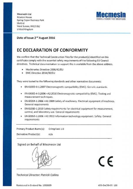 EC Declaration of Conformity, CrimpTest-1 kN