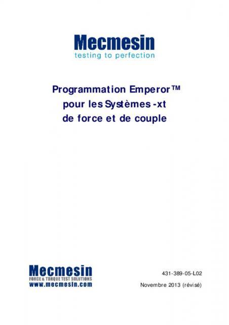 Programmation Emperor™pour les Systèmes -xt de force et de couple