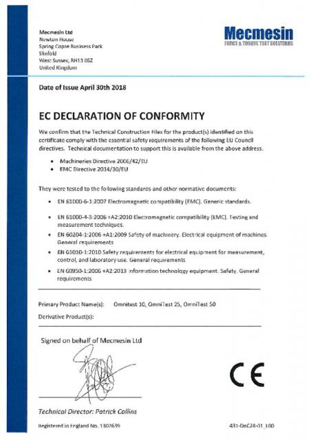 EC Declaration of Conformity, OmniTest 10, 25 and 50
