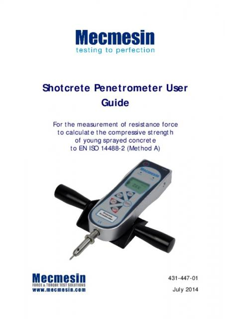 431-447-01-L00 Shotcrete Penetrometer User Guide