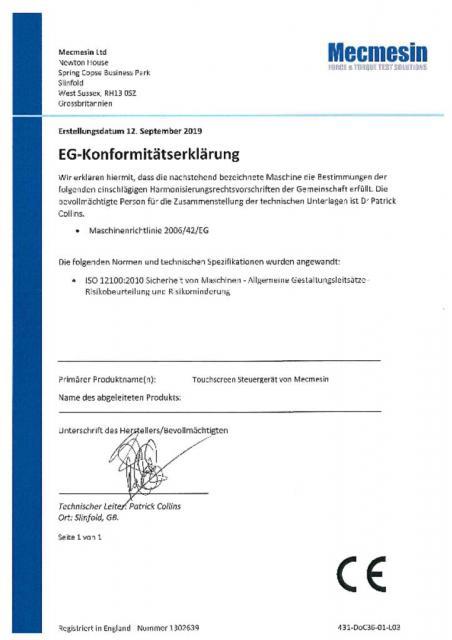 EG-Konformitatserklarung, Touchscreen Steuergerät von Mecmesin