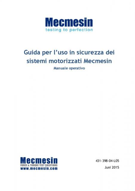 Guida per l'uso in sicurezza dei sistemi motorizzati Mecmesin Manuale operativo