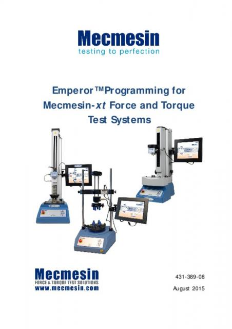 431-389-08-L00 Emperor™ Programming for Mecmesin-xt Force and Torque Test Systems