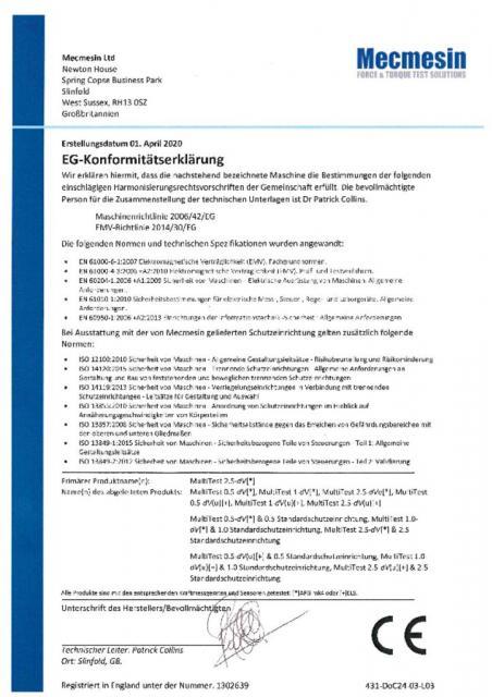 EG-Konformitatserklarung , MultiTest dV alle varianten inklusive dV(u), sensoren & standardschutzeinrichtung