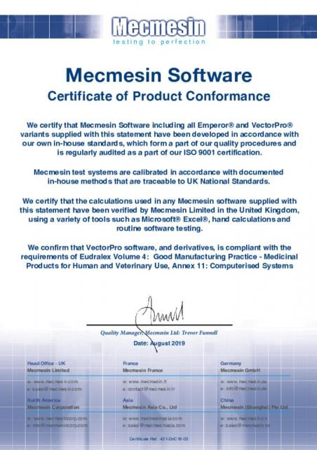 Mecmesin Software Certificate of Product Conformance (Emperor and VectorPro)