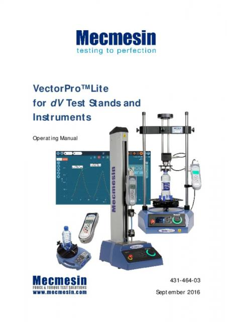 431-464-03-L00 VectorPro Lite for dV Test Stands and Instruments Operating Manual