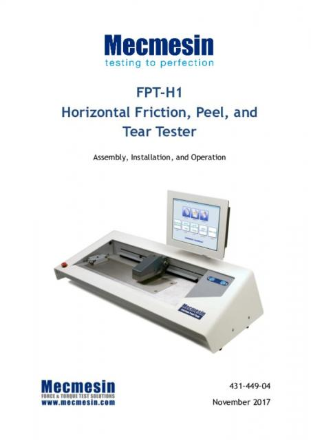 FPT-H1 assembly, installation and operation manual
