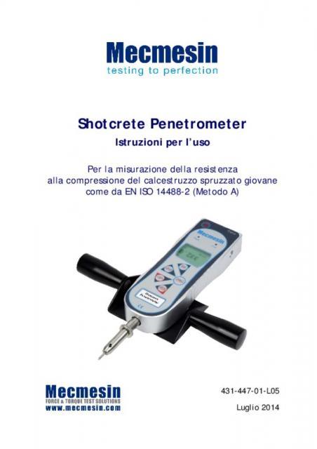 Shotcrete Penetrometer Istruzioni per l'uso