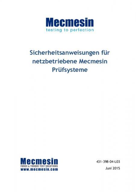 Sicherheitsanweisungen für netzbetriebene Mecmesin Prüfsysteme