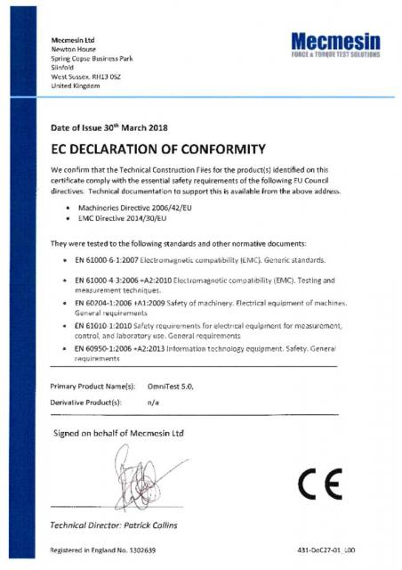 EC Declaration of Conformity, OmniTest 5.0