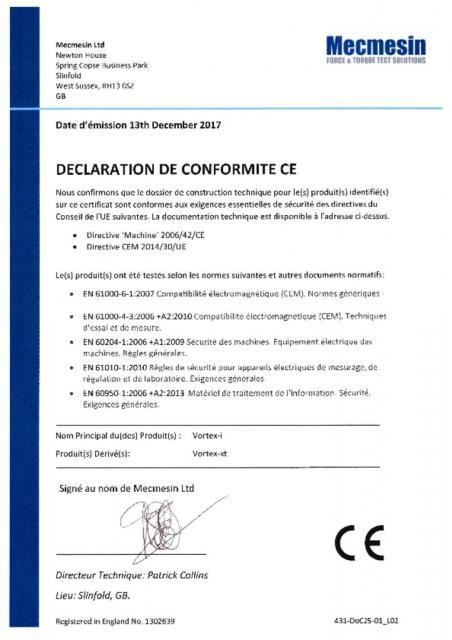Declaration de Conformite CE, Vortex-i et Vortex-xt