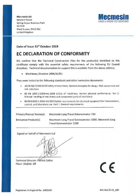 EC Declaration of Conformity, MLTE Long Travel Extensometer 700, 1000 and 1200
