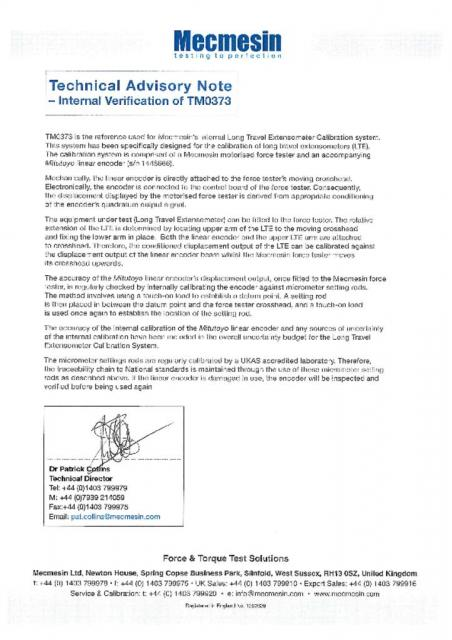 Technical Advisory Note & Calibration Certificate for TM0373-02
