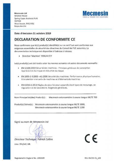 Declaration de Conformite CE, MLTE extensomètre à course longue 700, 1000 and 1200