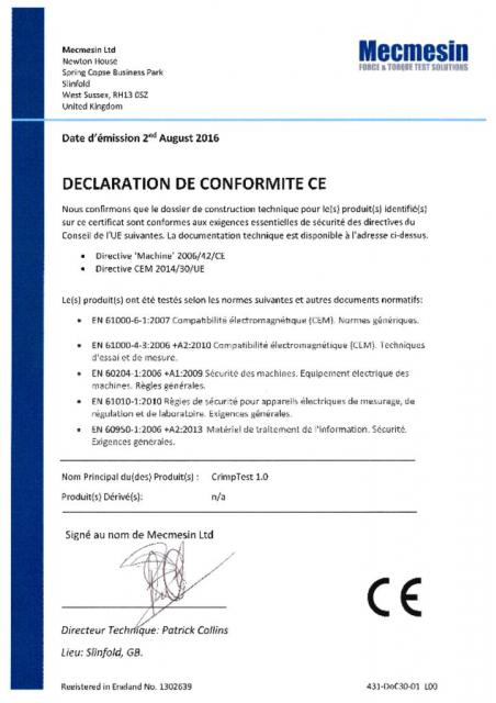 Declaration de Conformite CE, CrimpTest-1 kN