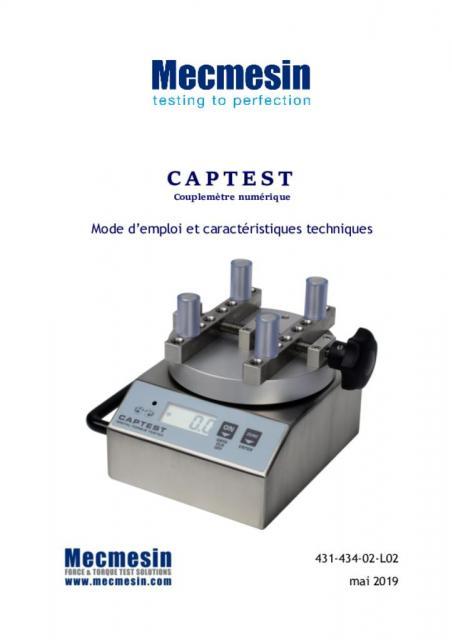 Captest Couplemètre numérique Mode d'emploi et caractéristiques techniques