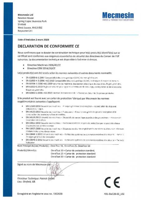 Declaration de Conformite CE, OmniTest 10, 25 and 50