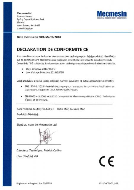 Declaration de Conformite CE, Orbis Mk2 et Tornado Mk2