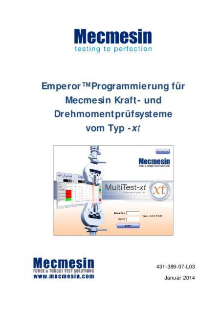 Emperor™ Programmierung für Mecmesin Kraft- und Drehmomentprüfsysteme vom Typ -xt