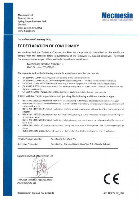 EC Declaration of Conformity, OmniTest 5 and OmniTest 7.5