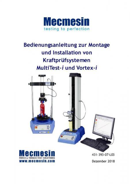 Bedienungsanleitung zur Montage und Installation von Kraftprüfsystemen