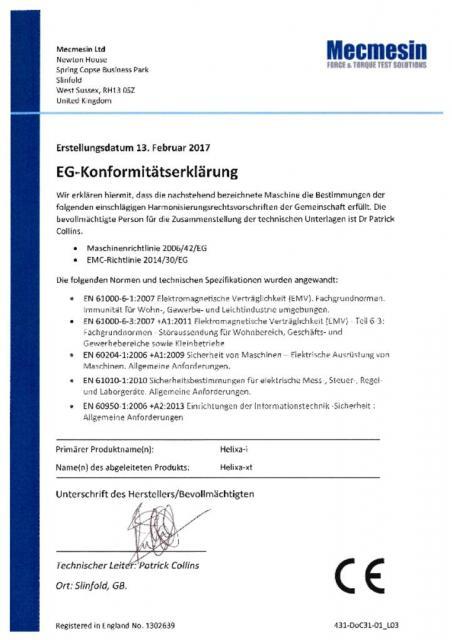 EG-Konformitatserklarung, Helixa-i und Helixa-xt