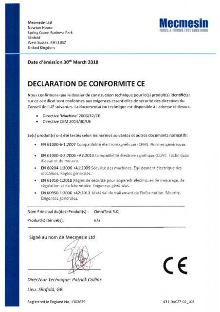 Declaration de Conformite CE, OmniTest 5.0