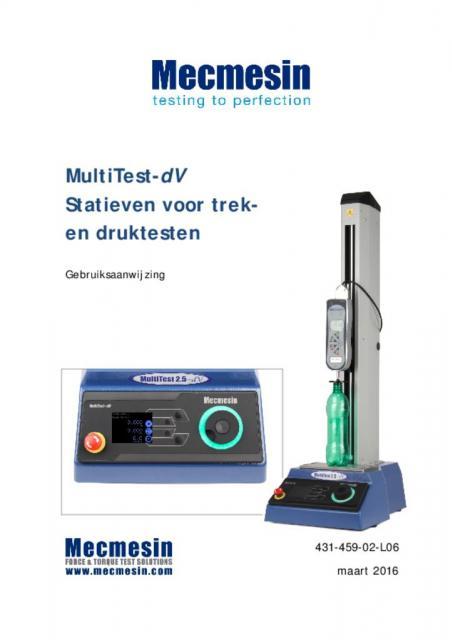 MultiTest-dV Statieven voor trek-en druktesten Gebruiksaanwijzing