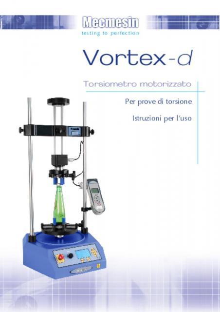 Vortex-d Torsiometro motorizzato Per prove di torsione Istruzioni per l'uso