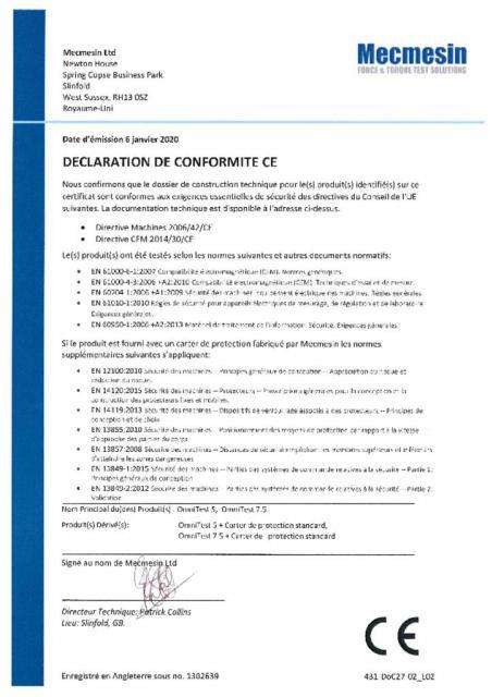 Declaration de Conformite CE, OmniTest 5 et OmniTest 7.5